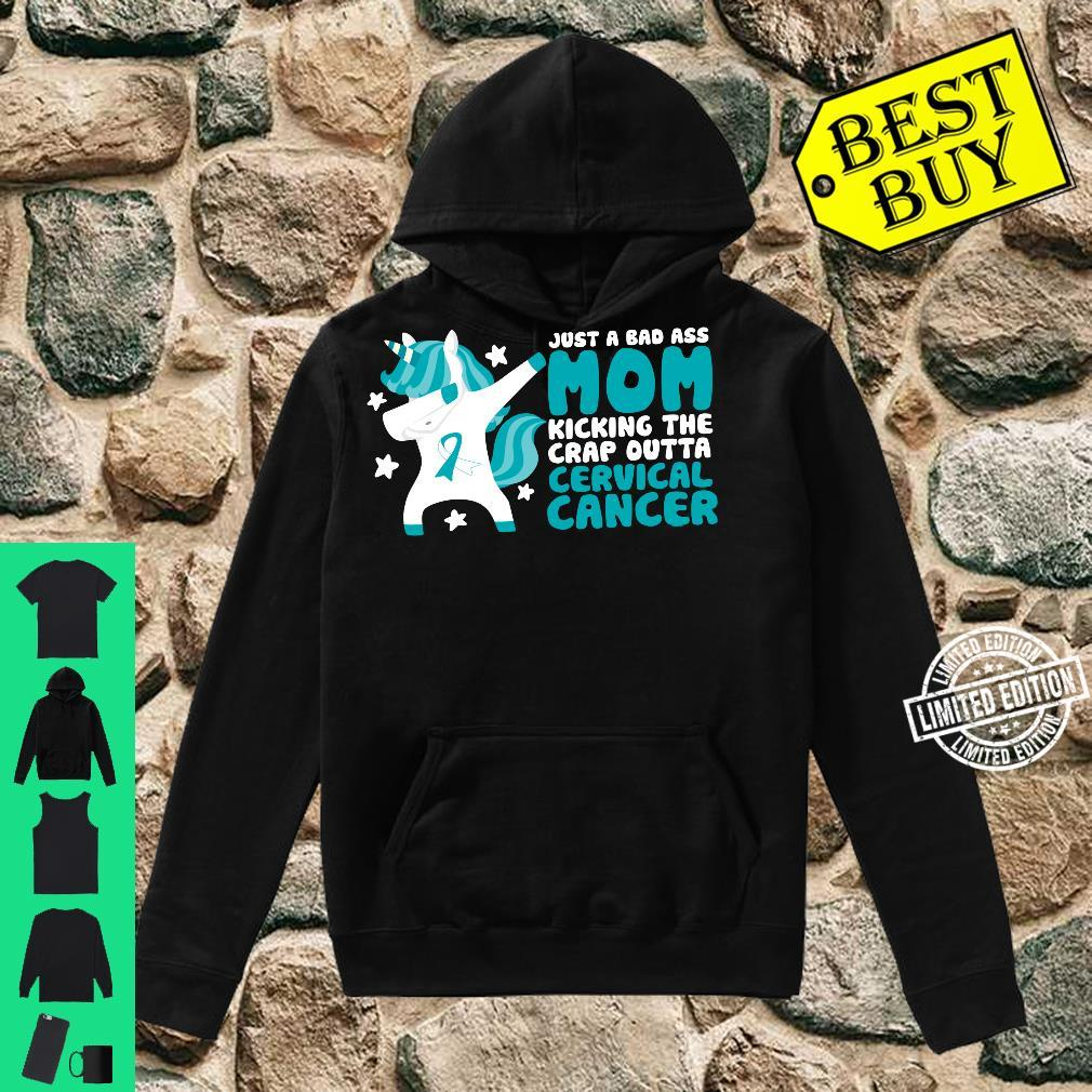 Cervical Cancer Bad Ass Mom Quote Dabbing Unicorn Shirt hoodie