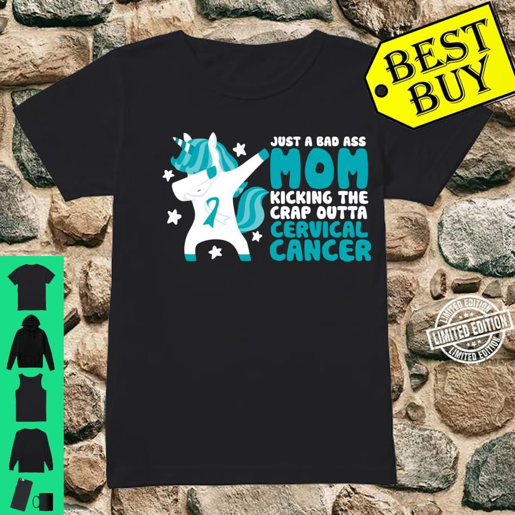 Cervical Cancer Bad Ass Mom Quote Dabbing Unicorn Shirt ladies tee