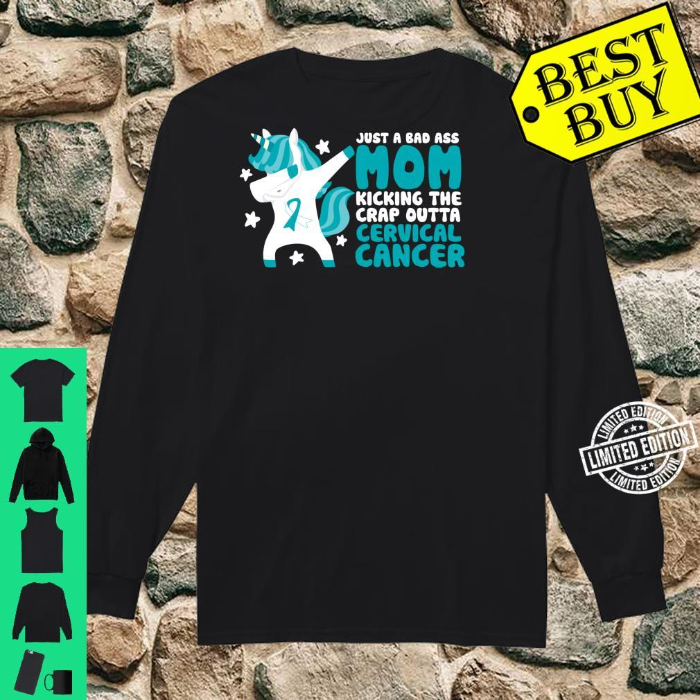 Cervical Cancer Bad Ass Mom Quote Dabbing Unicorn Shirt long sleeved