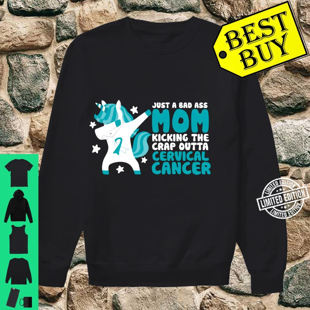 Cervical Cancer Bad Ass Mom Quote Dabbing Unicorn Shirt sweater