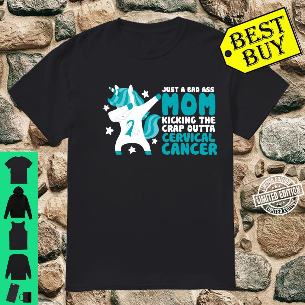 Cervical Cancer Bad Ass Mom Quote Dabbing Unicorn Shirt